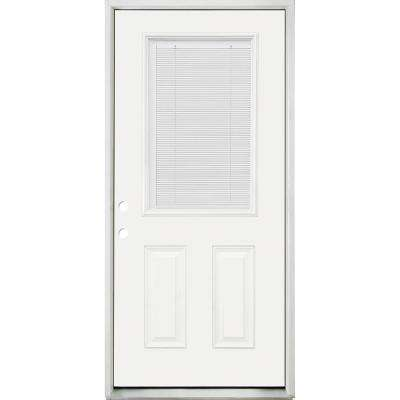 32 in. x 80 in. Reliant Clear 1/2 Lite RHIS White Micro-Blind White Primed Fiberglass Prehung Front Door Nickel Hinges