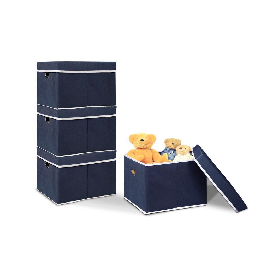 12.5 in. x 15.3 in. Heavy Duty Dark Blue Non-Woven Fabric Storage Bin (4-Pack)
