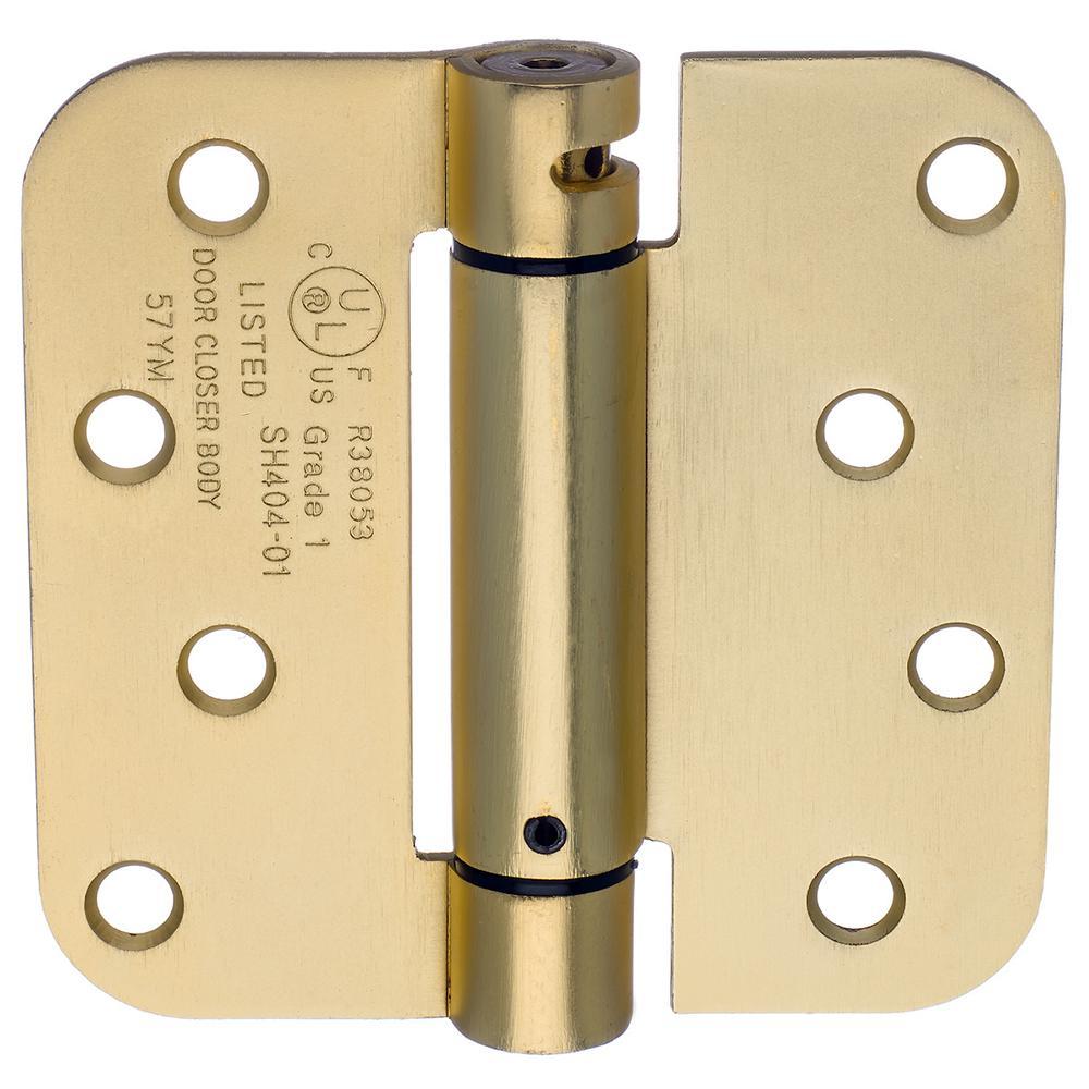 Dynasty Hardware 4 in. x 4 in. Satin Brass 5/8 in. Radius Adjustable Spring Door Hinge (2-Pack)