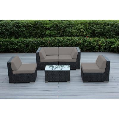 Black 5-Piece Wicker Patio Seating Set with Sunbrella Taupe Cushions