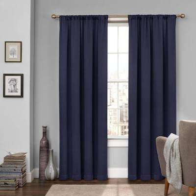 Tricia 84 in. L Polyester Rod Pocket Thermapanel in Midnight (1-Pack)