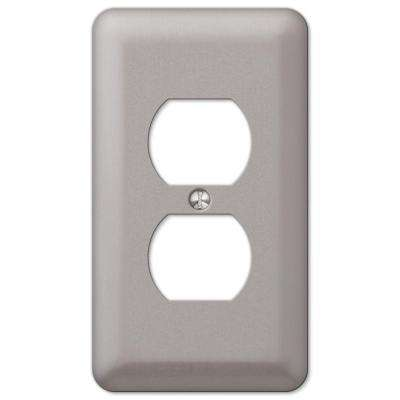 Declan 1-Duplex Outlet Plate, Pewter