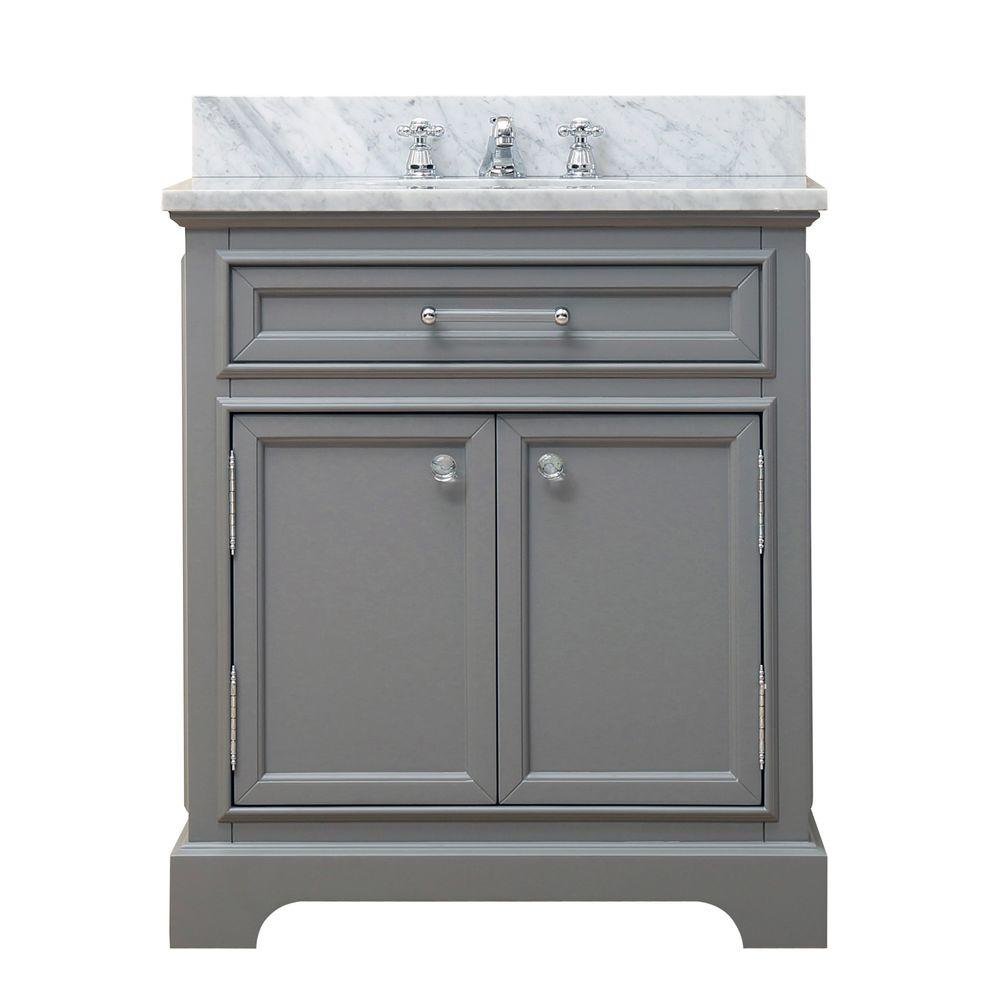 Water Creation 30 In W X 21 5 In D X 34 In H Vanity In Cashmere Grey With Marble Vanity Top