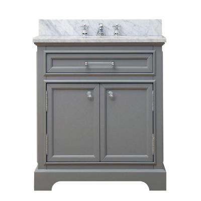 30 in. W x 21.5 in. D x 34 in. H Vanity in Cashmere Grey with Marble Vanity Top in Carrara White