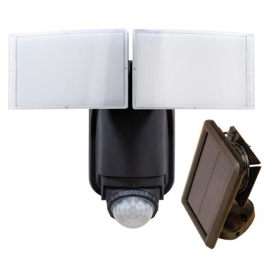 180-Degree Black Solar Powered Motion LED Security Light with Battery Backup