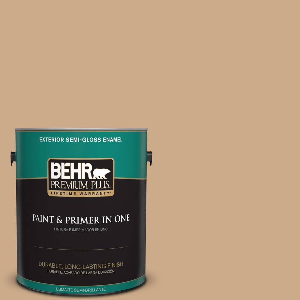 1-gal. #N280-4 Perfect Tan Semi-Gloss Enamel Exterior Paint