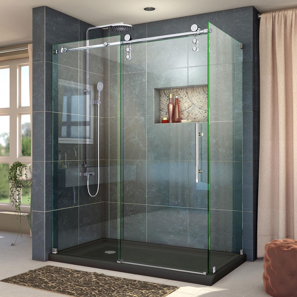 DreamLine Enigma-Z 44-3/8 to 48-3/8 in. W x 34-1/2 in. D x 76 in. H Frameless Sliding Shower Enclosure in Polished Stainless Steel