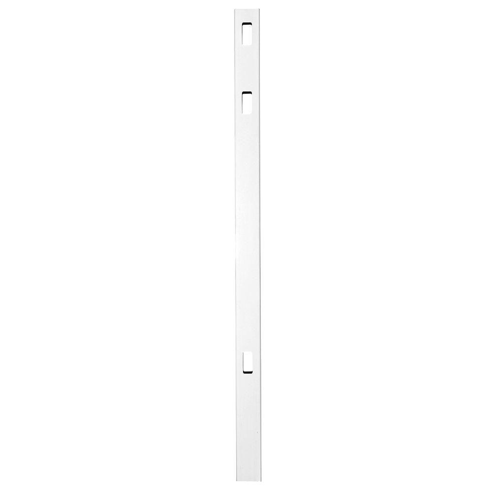 Veranda Pro Series 4 in. x 4 in. x 7 ft. White Vinyl LaFayette Spaced Picket Routed Fence Line Post