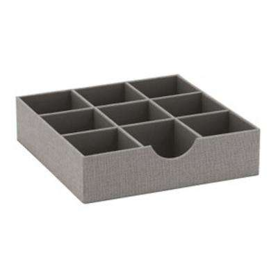 12 in. W x 3 in. H Square 9 Section Hardsided Tray in Silver