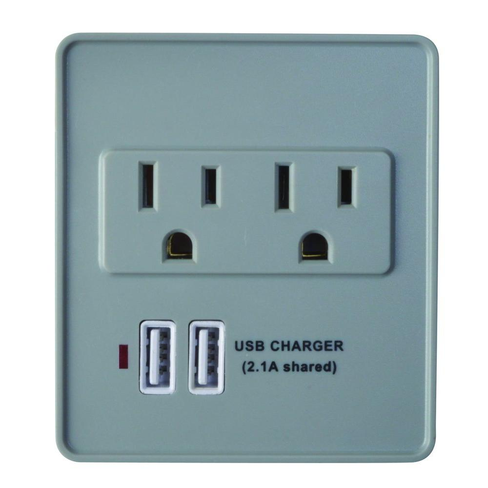 Woods 2-Outlet 245-Joule Surge Protector with USB Charger - Gray/White