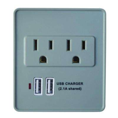 2-Outlet 245-Joule Surge Protector with USB Charger - Gray/White