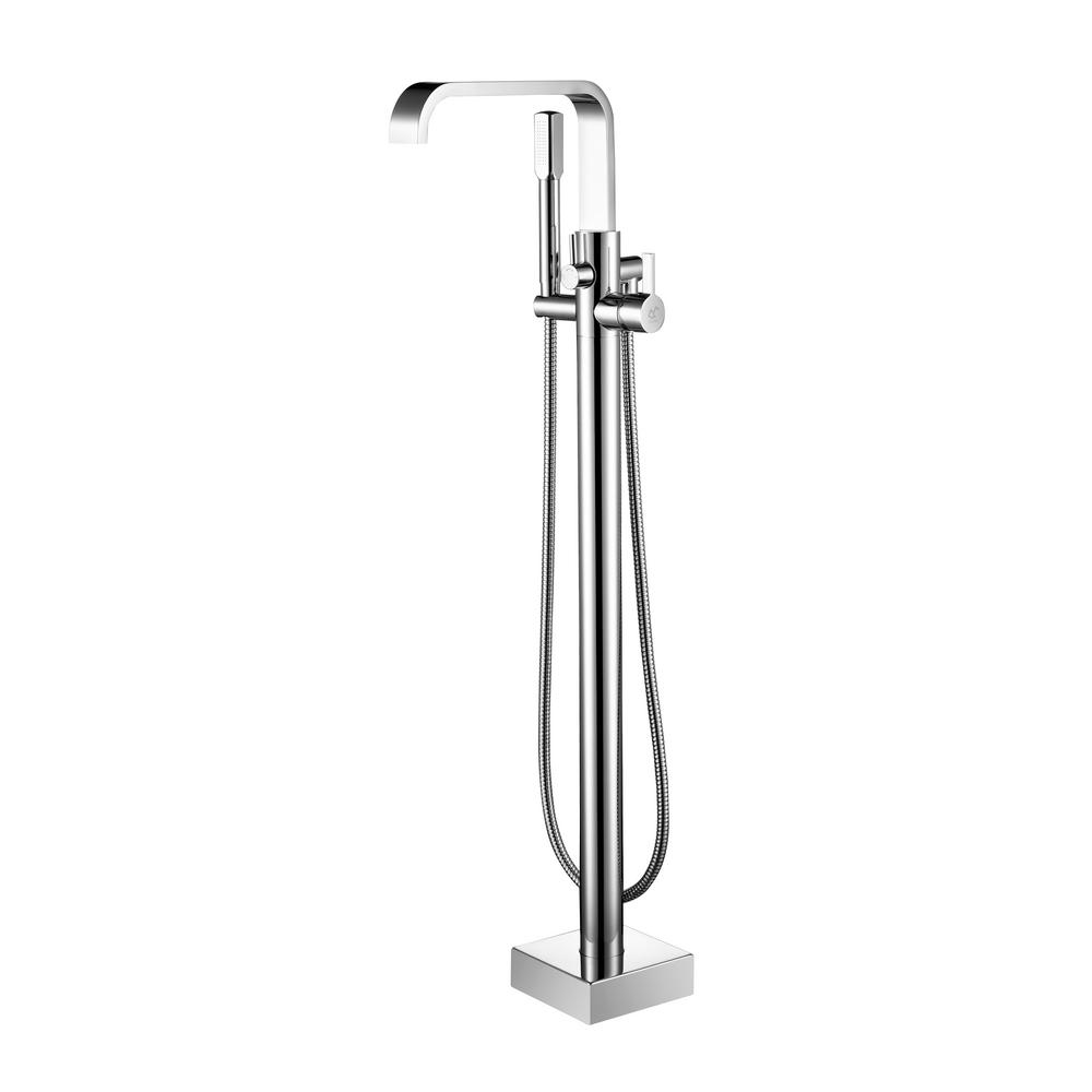 Braxton Single-Handle Floor Mount Roman Tub Faucet with Hand Shower in