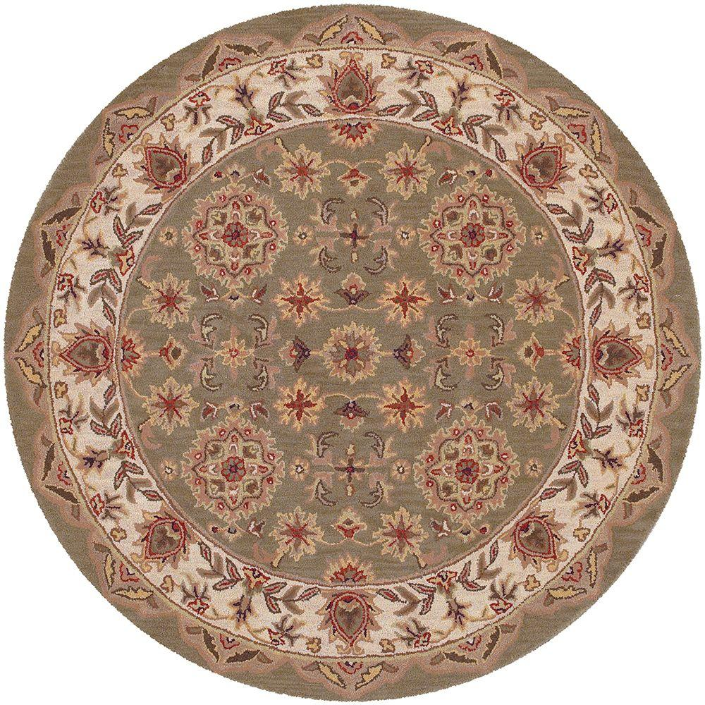 LR Resources Shapes Green/Ivory 7 ft. 9 in. x 7 ft. 9 in. Traditional Indoor Round Area Rug