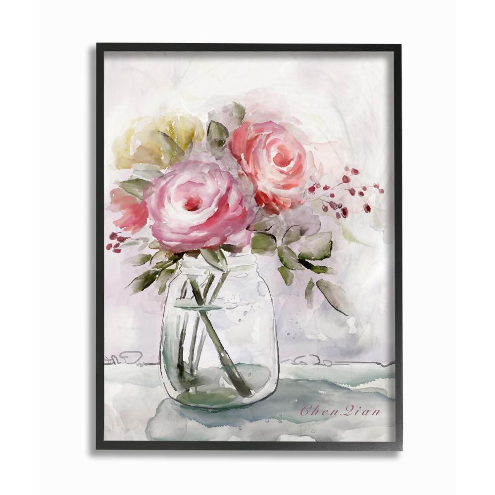 16 In X 20 In Muted Watercolor Flowers In A Mason Jar By Artist Main Line Art Design Framed Wall Art