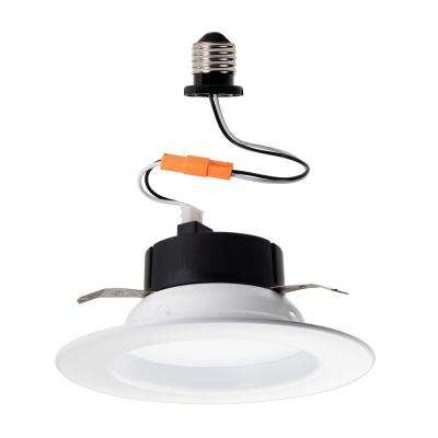 5 in./6 in. 65-Watt Equivalent White Recessed Dimmable Integrated LED Retrofit Trim