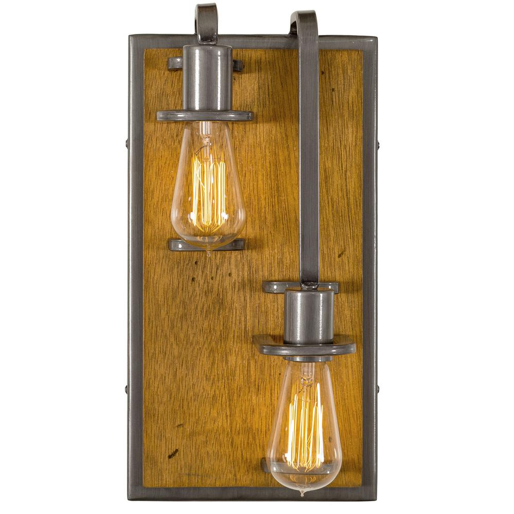 Varaluz Lofty 2-Light - Right - Steel with Wheat Wall Sconce ...