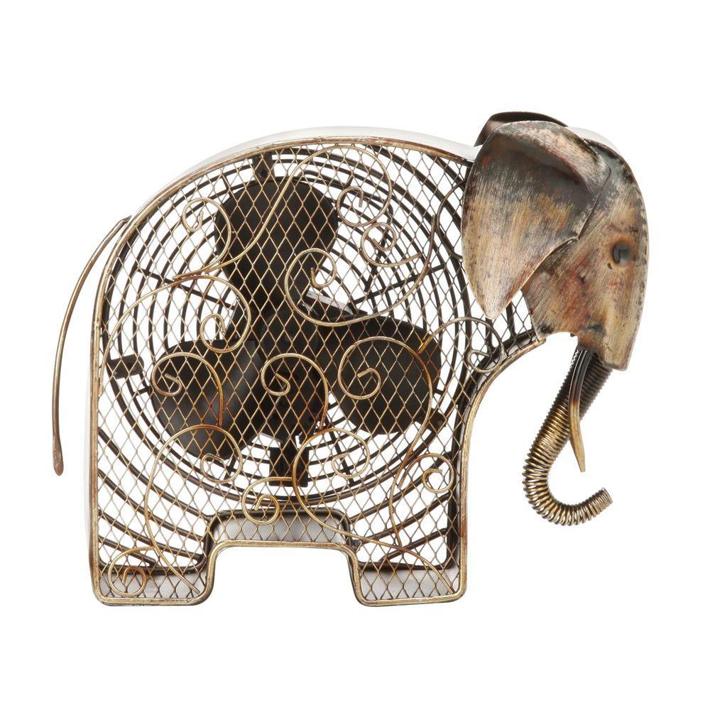 Deco Breeze 7 in. Figurine Fan-Elephant