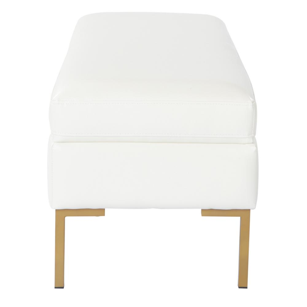 Pleasing Osp Home Furnishings Burlington Bench In Off White Faux Andrewgaddart Wooden Chair Designs For Living Room Andrewgaddartcom
