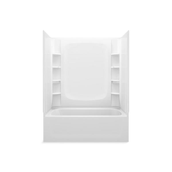 STORE+ 5 ft. Right-Hand Drain Rectangular Alcove Bathtub with Wall Set and 10-Piece Accessory Set in White