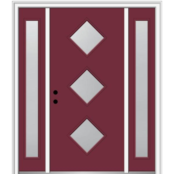 Mmi Door 68 5 In X 81 75 In Davina Right Hand Inswing 3 Lite Frosted Painted Fiberglass Smooth Prehung Front Door W Sidelites Z0348163r The Home Depot