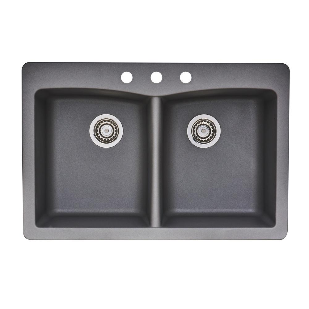 Glacier bay dual mount granite composite 33 in 3 hole - Glacier bay drop in bathroom sink ...