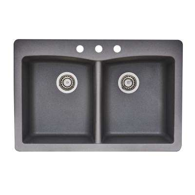 Dual Mount Granite Composite 33 in. 3-Hole Double Bowl Kitchen Sink in Gray