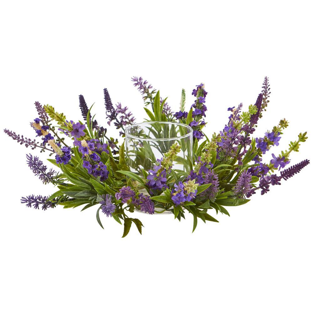 Lavender Artificial Arrangement Candelabrum