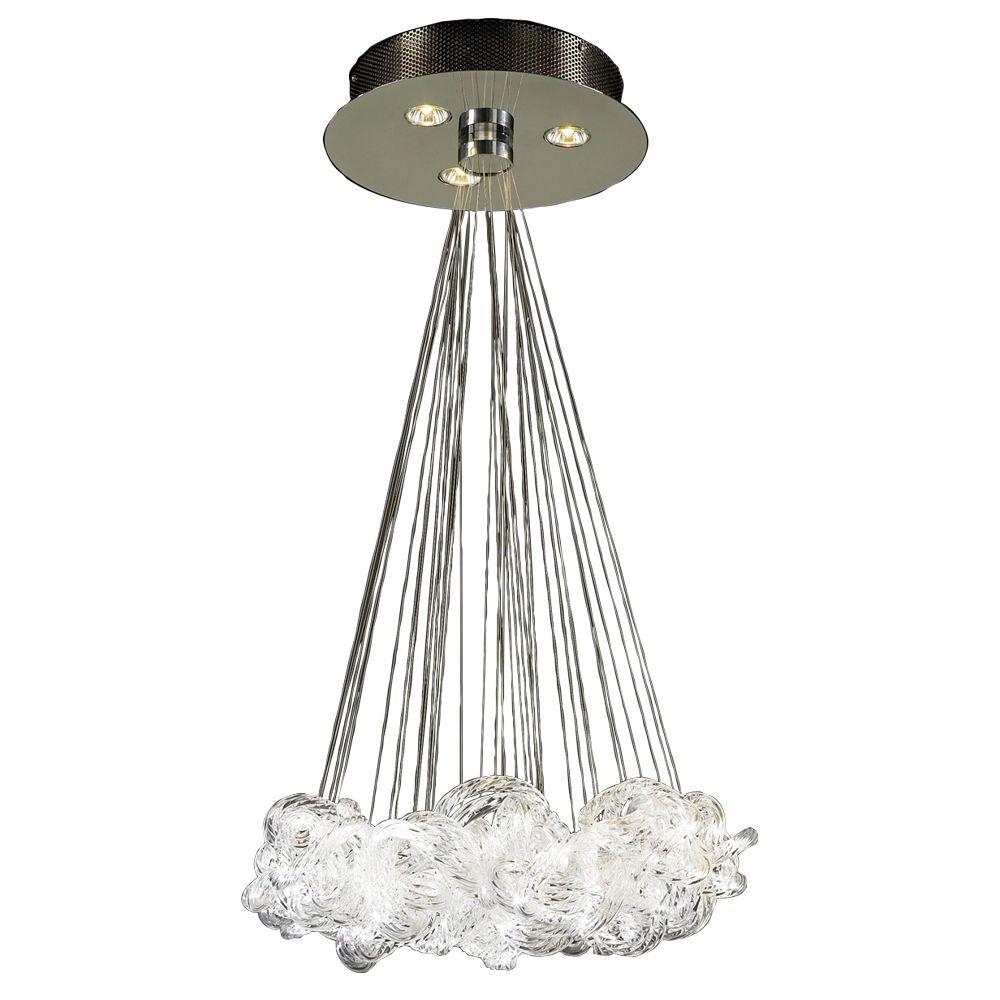 Plc Lighting 3 Light Polished Chrome Pendant With Clear Ribbed Glass Shade