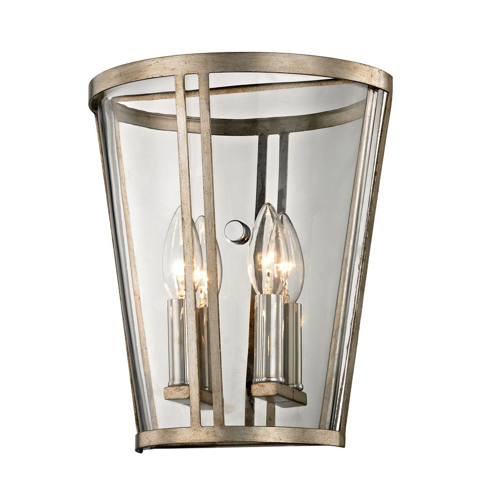 Troy Lighting Trapeze 2-Light Champagne Silver Leaf Wall
