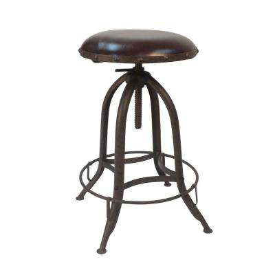 Townsley 24 in. to 30 in. Industrial Leather Seat Adjustable Stool