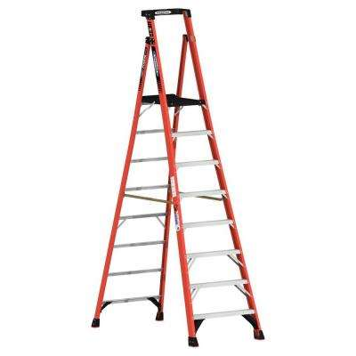 14 ft. Reach Fiberglass Podium Ladder with 300 lb. Load Capacity Type IA Duty Rating (Comparable to 10 ft. Stepladder)