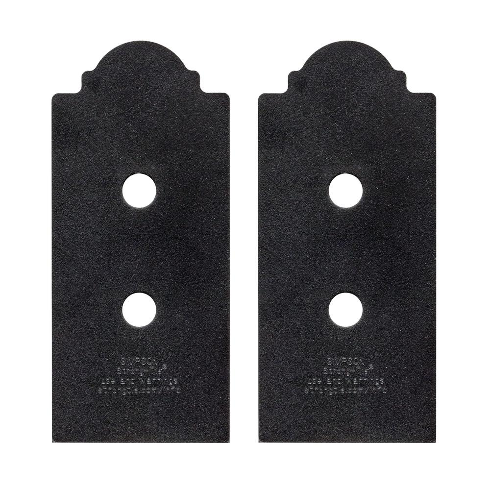 Simpson Strong-Tie Outdoor Accents Mission Collection ZMAX Black Post Base Side Plate for 4x Lumber (2-Pack)