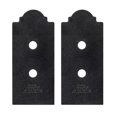 Outdoor Accents Mission Collection ZMAX Black Post Base Side Plate for 4x Lumber (2-Pack)