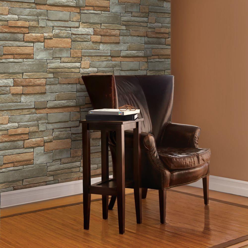The Wallpaper Company 56 sq. ft. Multi-Color Ledge Stone Wallpaper