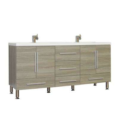 Ripley 67.12 in. W x 20.65 in. D x 33.37 in. H Vanity in Gray with Acrylic Vanity Top in White with White Basin