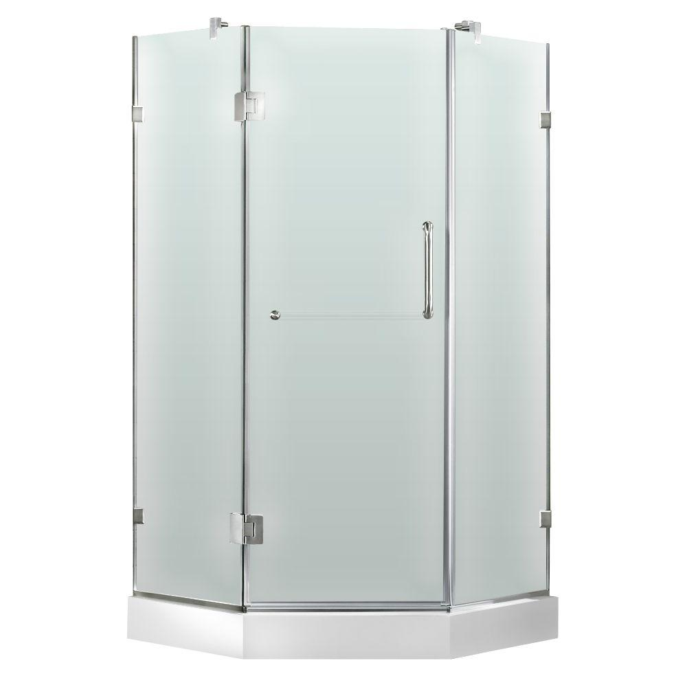 Vigo 36 in. x 78 in. Frameless Neo-Angle Shower Door in Brushed Nickel and Frosted Glass with Base