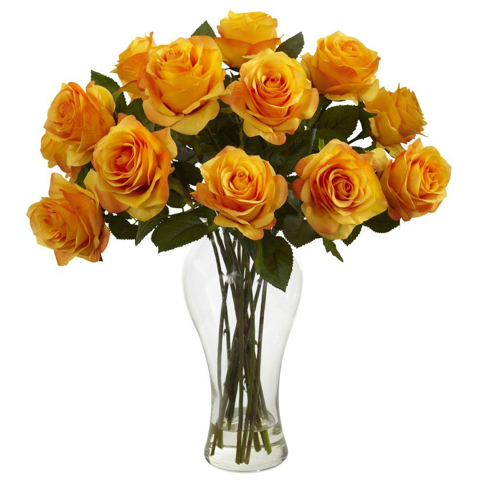 Nearly Natural Blooming Roses With Vase In Orange Yellow 1328 Oy