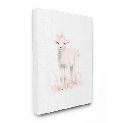"30 in. x 40 in. ""Sweet Baby Lamb with Pink Bow"" by Studio Q Printed Canvas Wall Art"