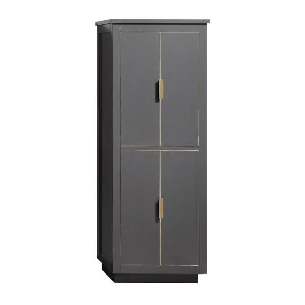 Allie 24 in. W x 16 in. D x 65 in. H Floor Cabinet in. Twilight Gray Finish with Gold Trim