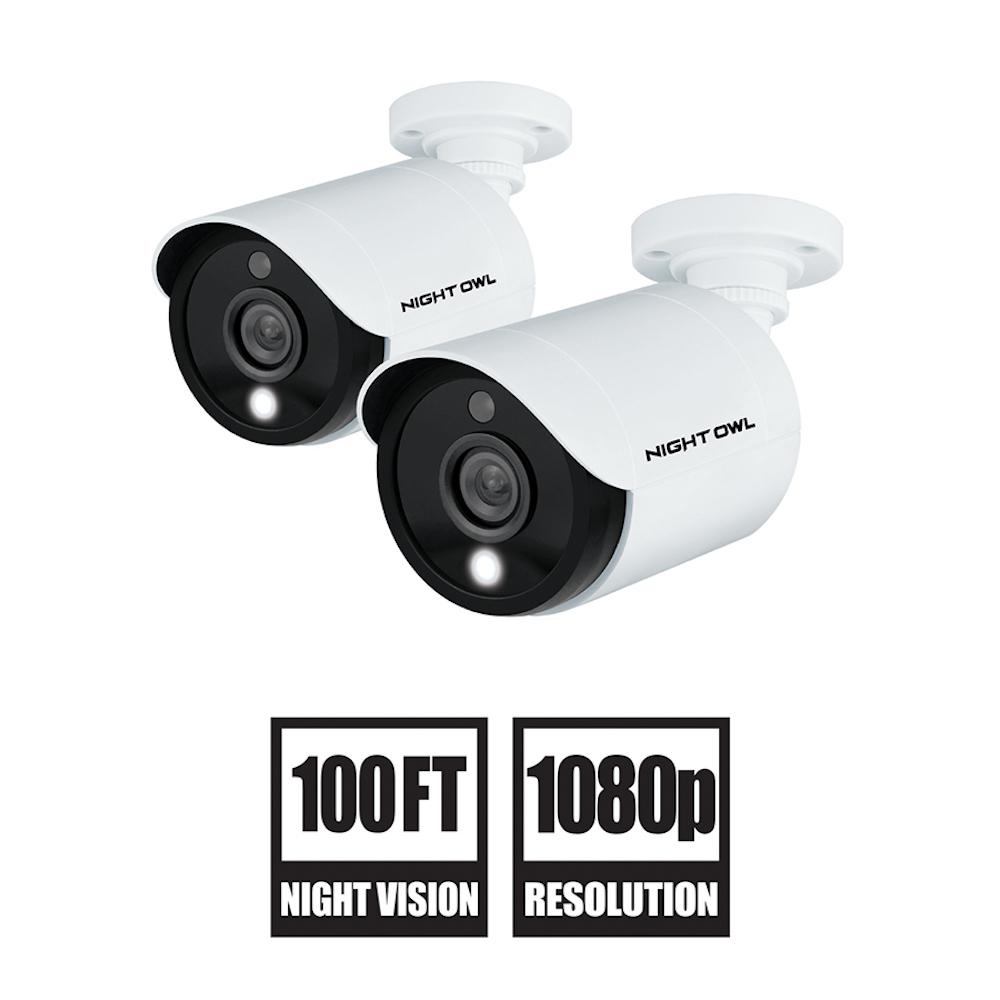 Night Owl 1080p HD Wired Security Cameras with Built-in Spotlight (2-Pack)