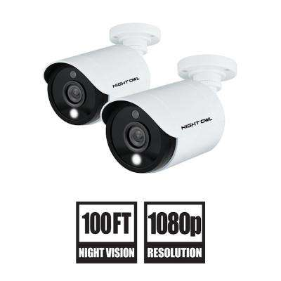 1080p HD Wired Security Cameras with Built-in Spotlight (2-Pack)