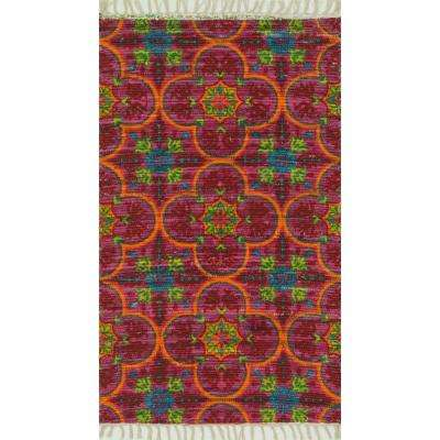 Aria Lifestyle Collection Berry/Multi 3 ft. 6 in. x 5 ft. 6 in. Area Rug