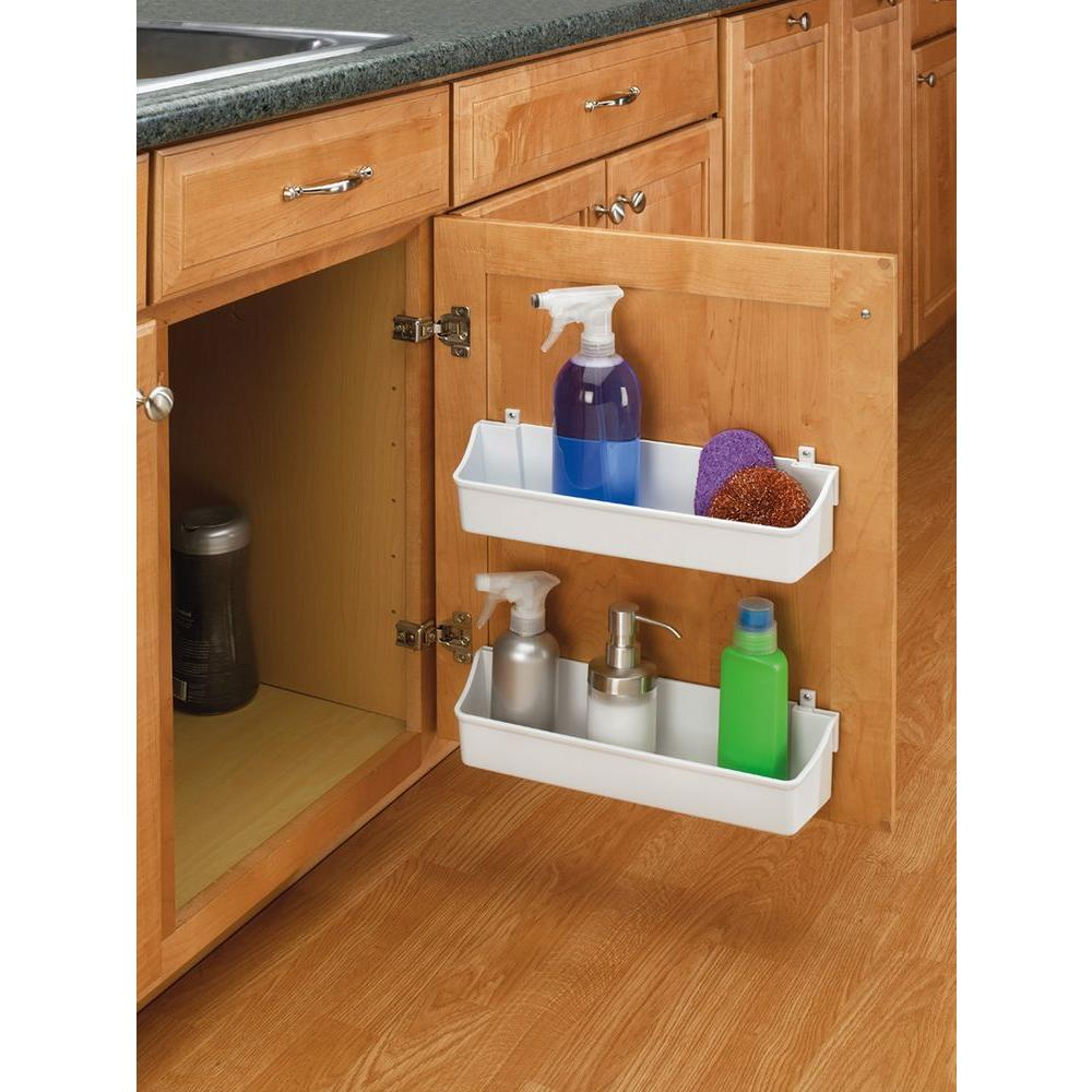 Durable Plastic Construction 2 White Tray Storage Bin Cabinet Door