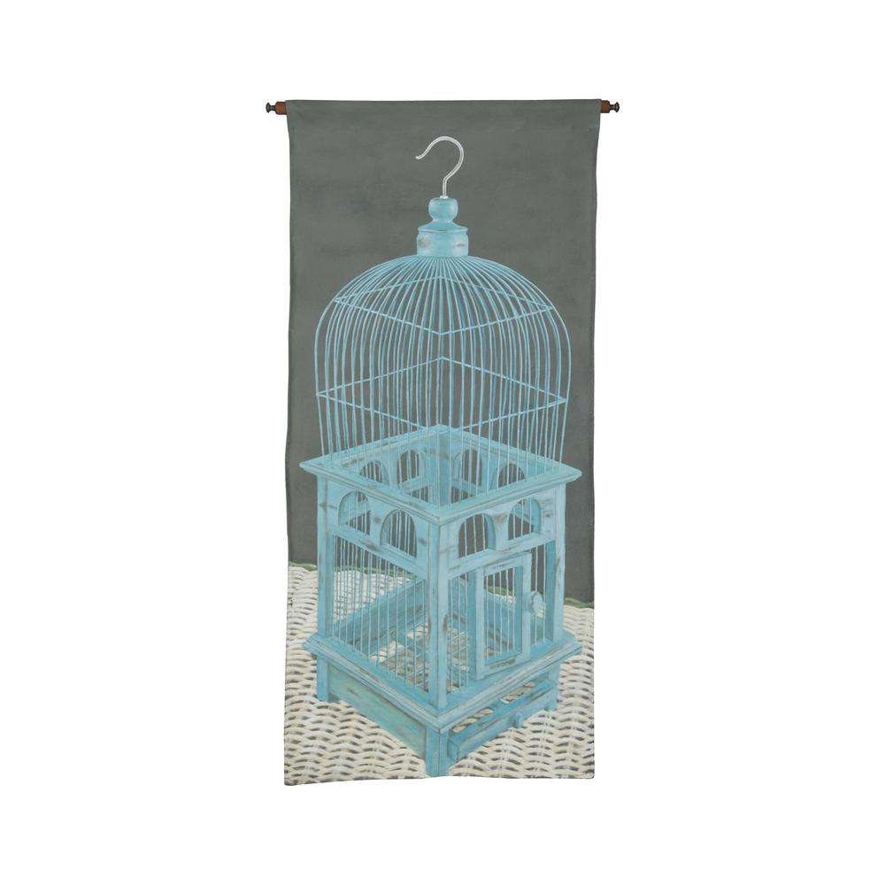 "Gray and Blue ""Birdcage"" Wall Tapestry"