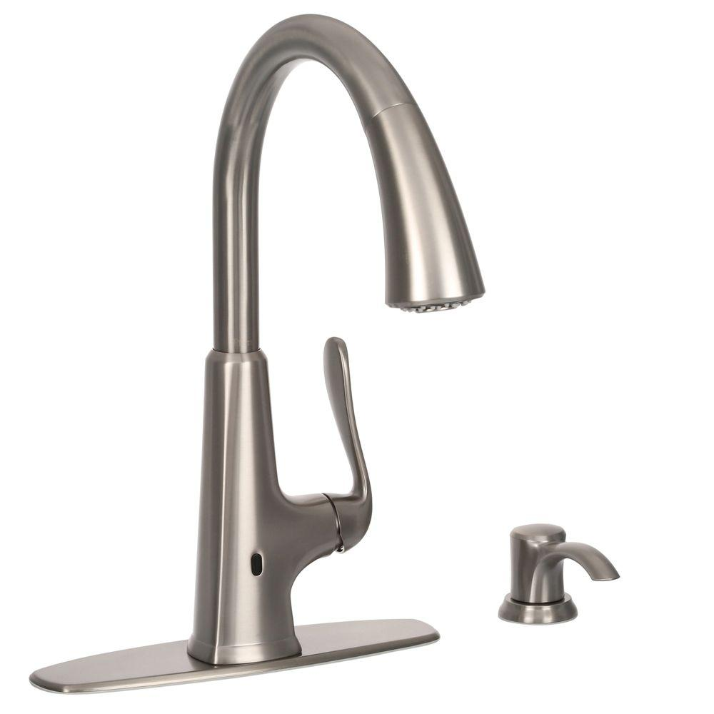 Delightful Pfister Pasadena Single Handle Pull Down Sprayer Kitchen Faucet In  Stainless Steel With React Technology F 529 EPDS   The Home Depot