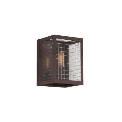 1-Light Oil-Rubbed Bronze Sconce with Etched Clear Glass Shades