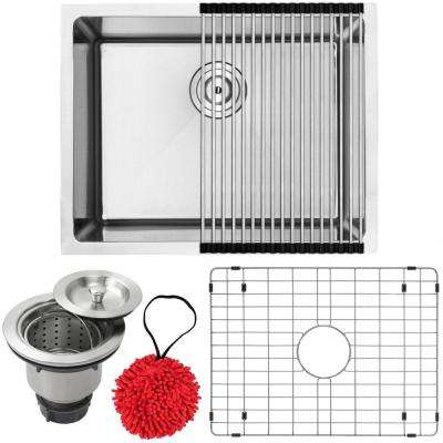 Arlo Undermount 18-Gauge Stainless Steel 23 in. Single Bowl Kitchen Sink with Accessory Kit