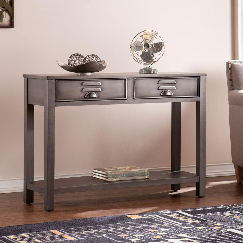 Southern Enterprises Sarah Renovation Gray Storage Console Table