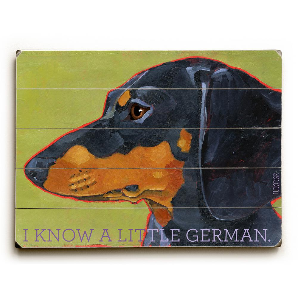 "14 in. x 20 in. ""Dachshund"" by Ursula Dodge ""Planked Wood"""