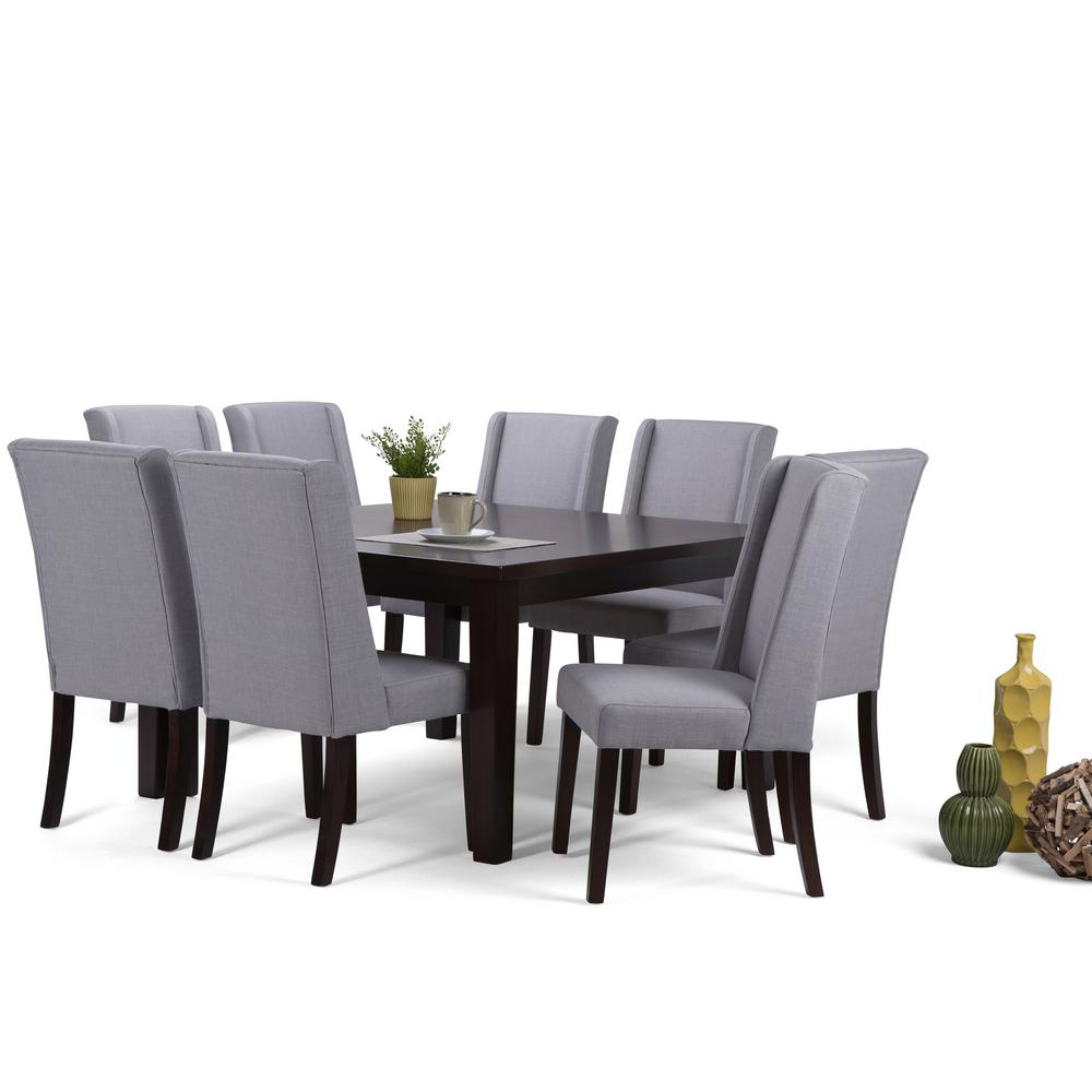 Simpli Home Sotheby 9 Piece Dove Grey Dining Set